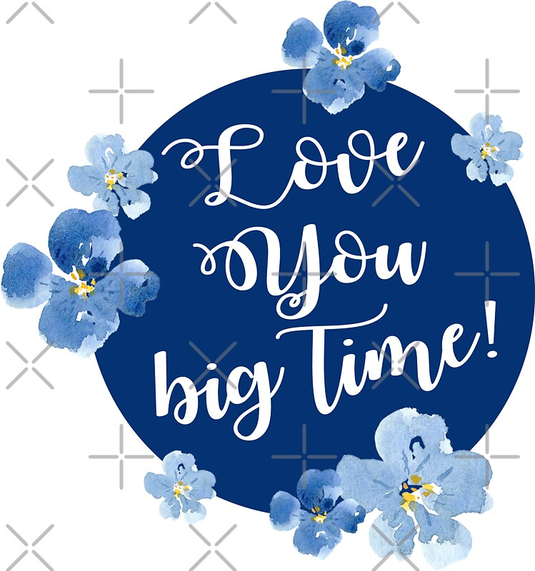 Little blue flowers love you big time sticker by apricotblossom