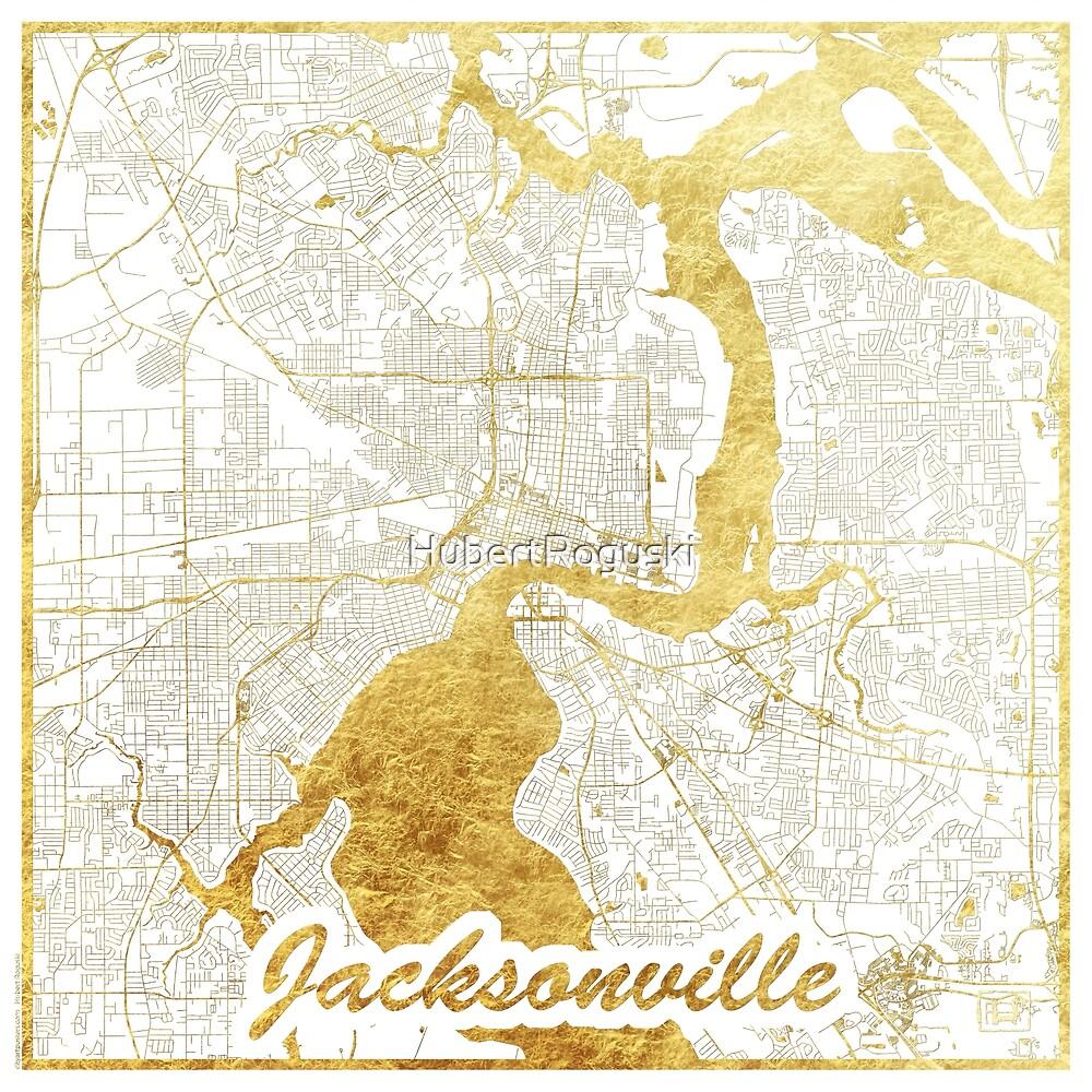 Jacksonville Map Gold by HubertRoguski
