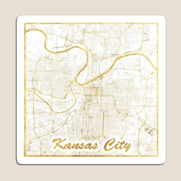 Kansas City Map Gold Magnet