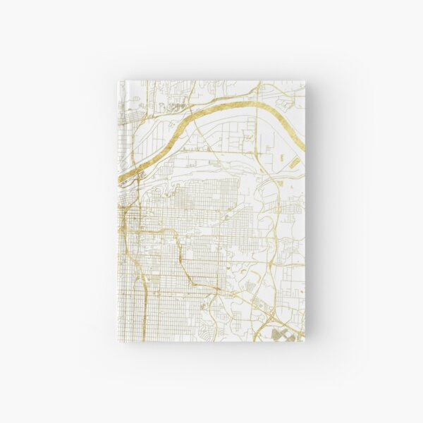 Kansas City Map Gold Hardcover Journal