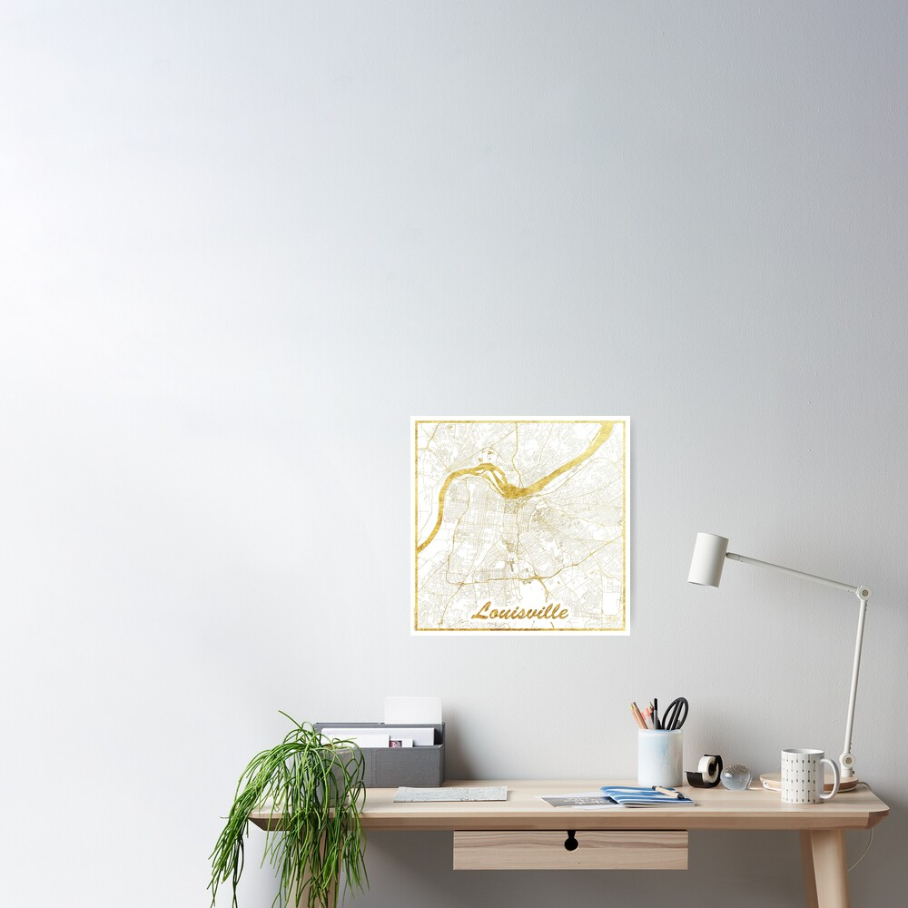 Louisville Map Gold Poster