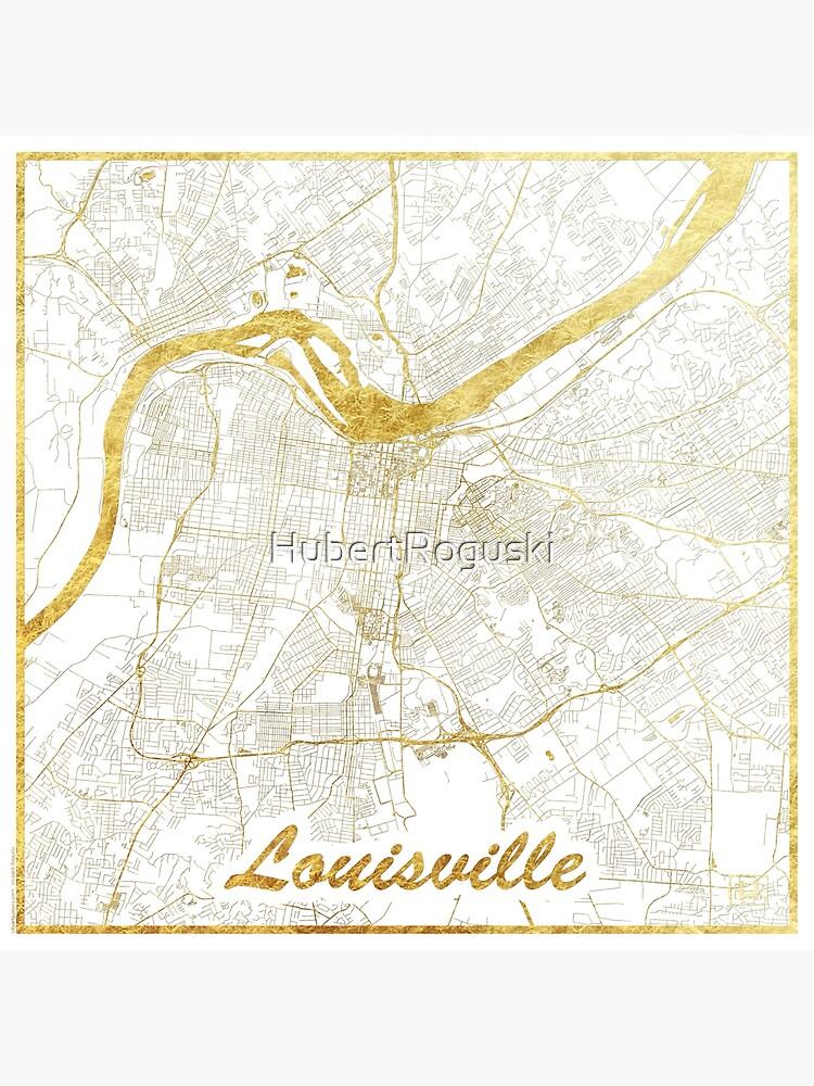 Louisville Map Gold by HubertRoguski