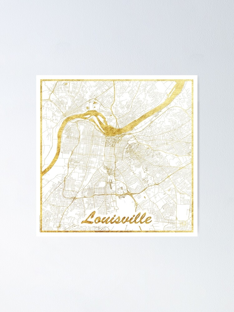 Alternate view of Louisville Map Gold Poster