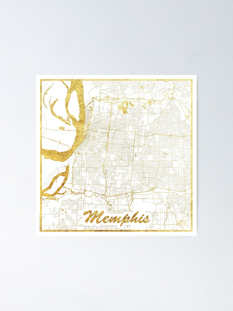 Alternate view of Memphis Map Gold Poster