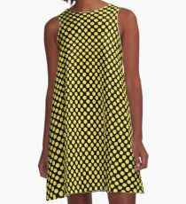Black and Buttercup Polka Dots A-Line Dress