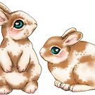 Easter Bunnies Brown Spots on Neutral by ThistleandFox