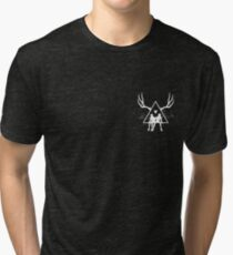 Small White Triangle Stag Logo Tri-blend T-Shirt