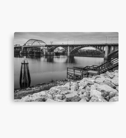 Little Rock Arkansas River Bridge Black and White Canvas Print