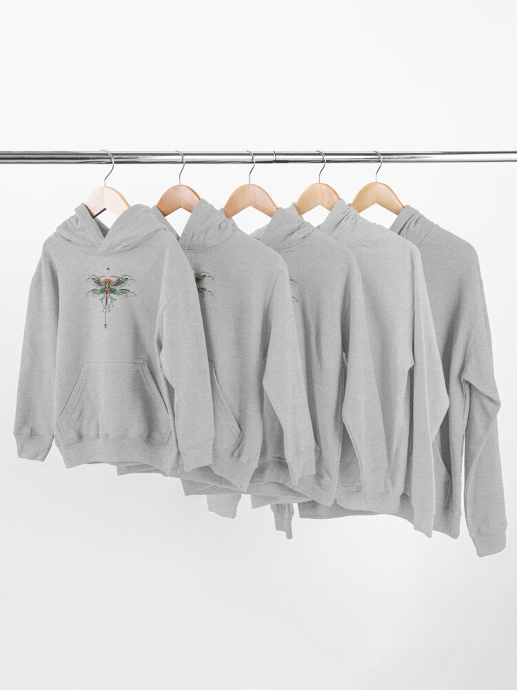 Alternate view of Dragon Fly Tattoo Kids Pullover Hoodie