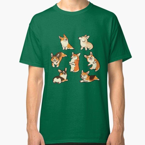 Lustige Corgis in Grün Classic T-Shirt