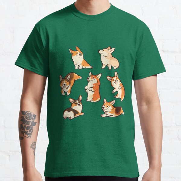 Jolly corgis en vert T-shirt classique