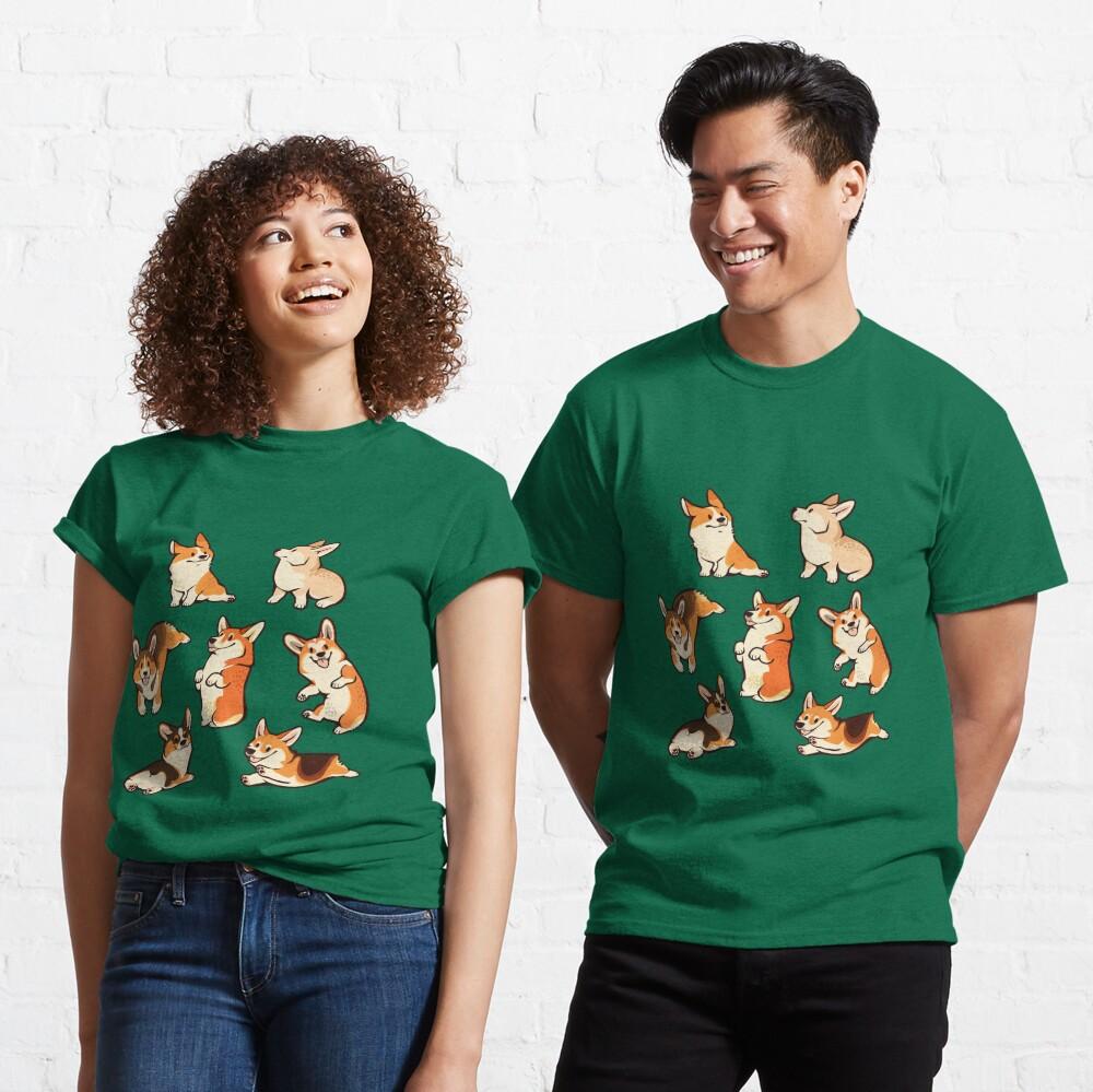 Jolly corgis in green Classic T-Shirt