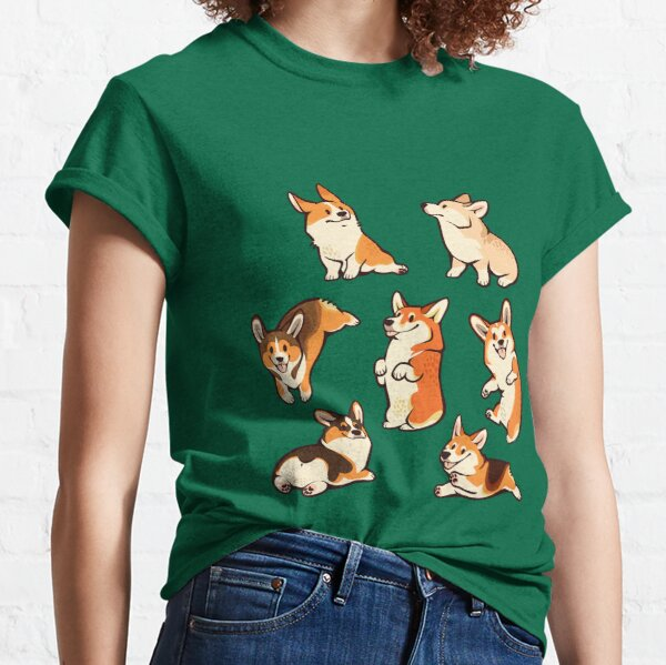 Jolly corgis in green Classic T-Shirt