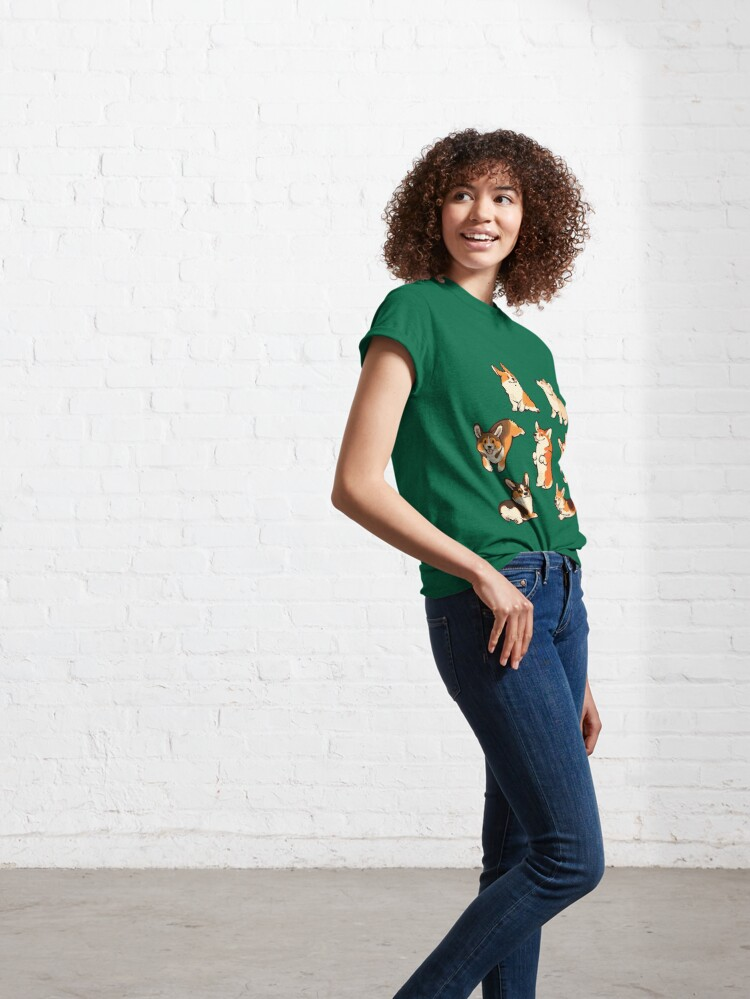 Alternate view of Jolly corgis in green Classic T-Shirt