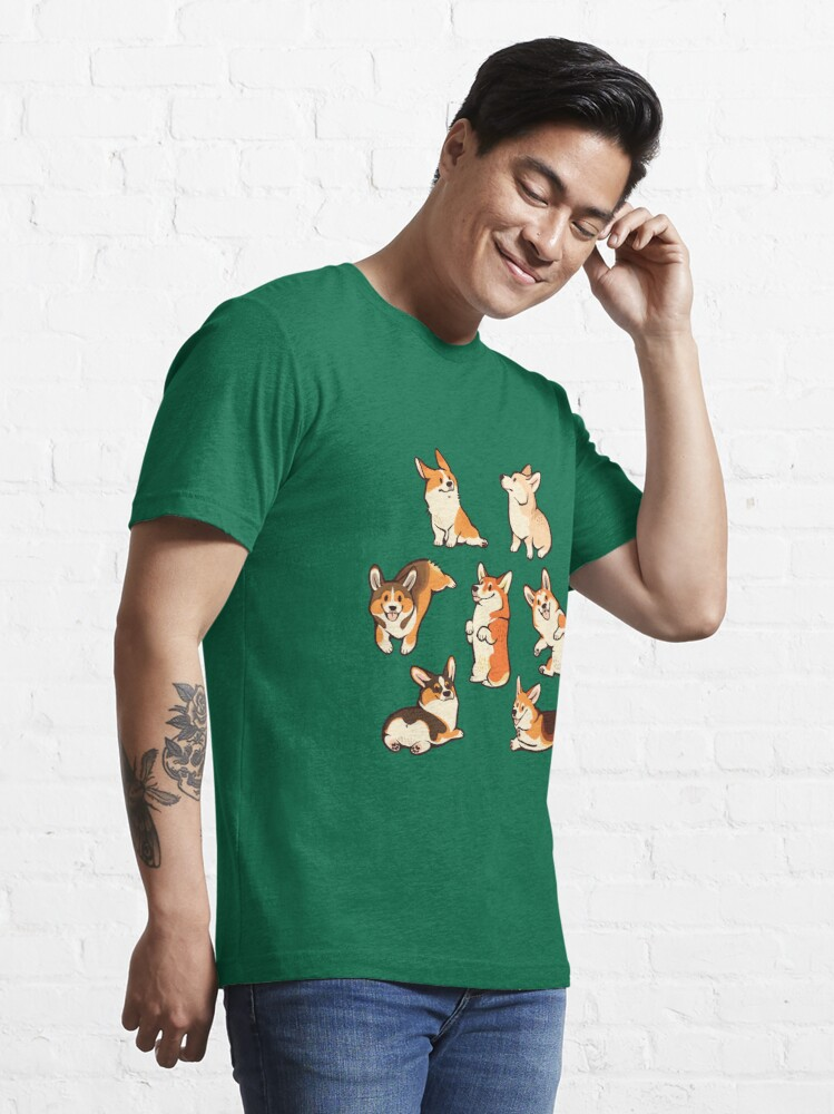 Alternate view of Jolly corgis in green Essential T-Shirt