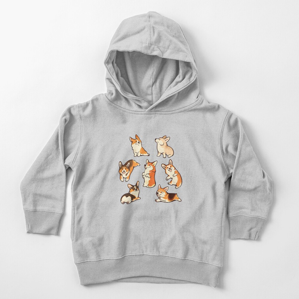 Jolly corgis in green Toddler Pullover Hoodie