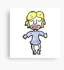 cartoon happy blond girl Canvas Print