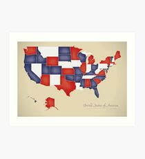 USA map artwork with national flag colors illustration Art Print