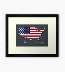 USA map special artwork style with flag illustration Framed Print