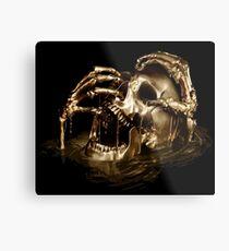 Schwarzer Segel-goldener Schädel Metallbild