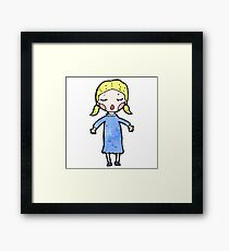 cartoon pretty blond girl Framed Print
