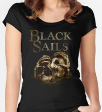 Black Sails Golden Skull Logo Women's Fitted Scoop T-Shirt