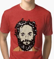 Jason Mantzoukas Colour Portrait JTownsend Tri-blend T-Shirt