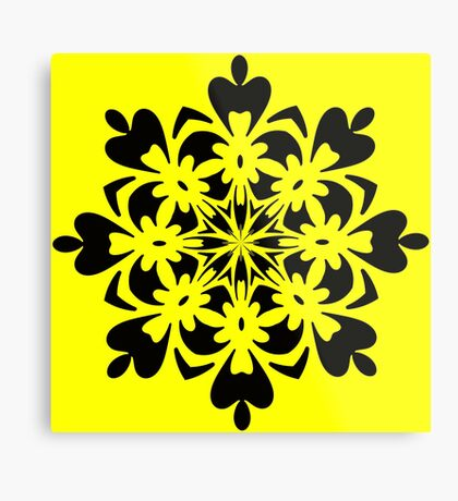 Bright Yellow Mandala by Julie Everhart Metal Print