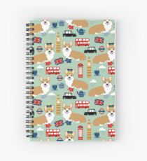 Cuaderno de espiral Corgi pattern london welsh corgi británico anglófilo lindo perro raza arte por mascotas