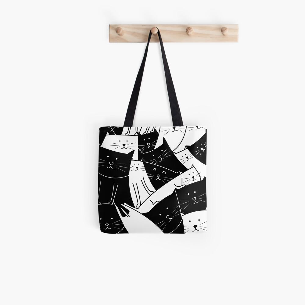 The Cats are Watching B/W Tote Bag