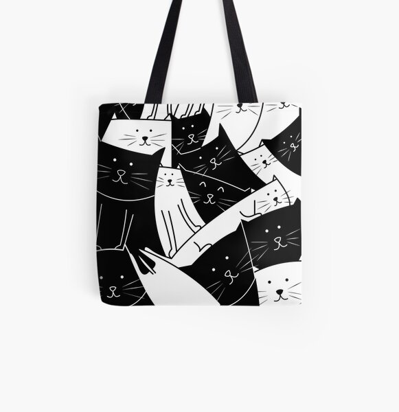The Cats are Watching B/W All Over Print Tote Bag