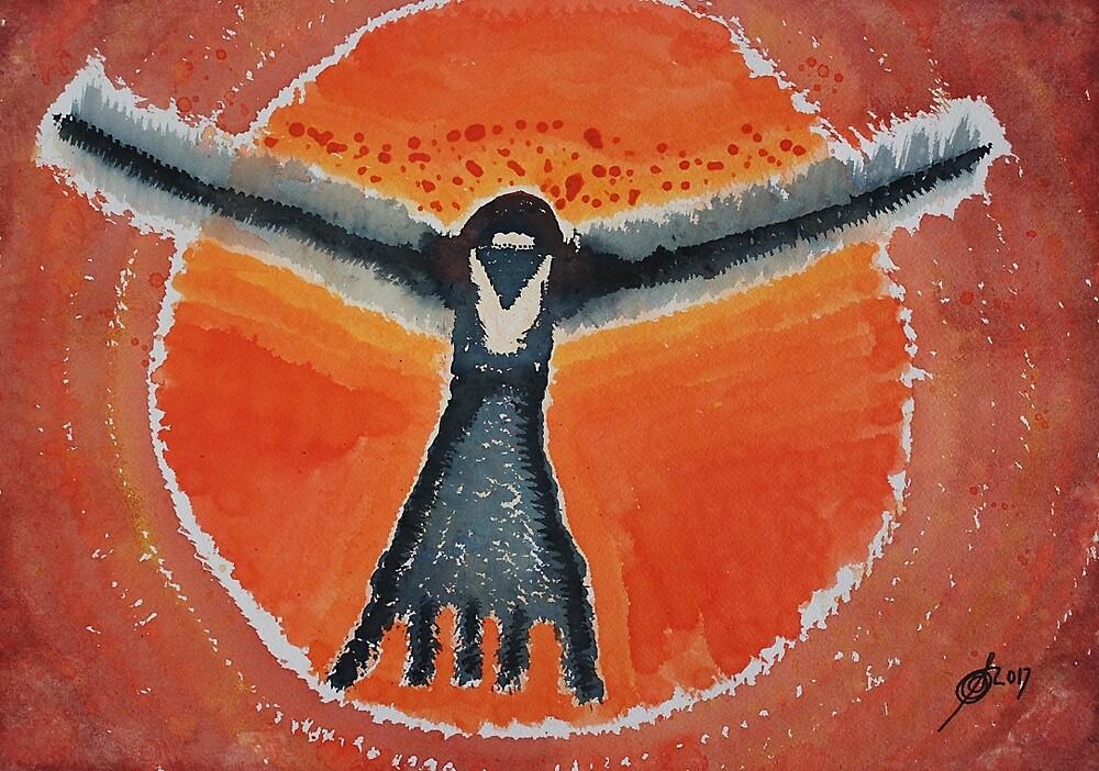 Bluebird Shaman original painting by Sol Luckman