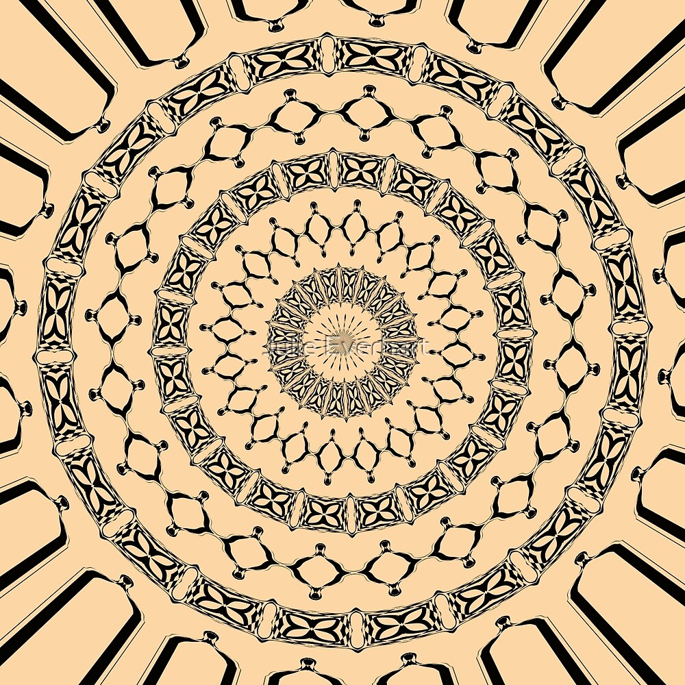 Mandala in Beige and Black by Julie Everhart by Julie Everhart