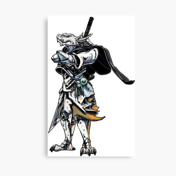 White Dragonborn Paladin Canvas Print