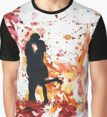 Couple kissing.  Watercolor painting.  Valentine's Day art Graphic T-Shirt
