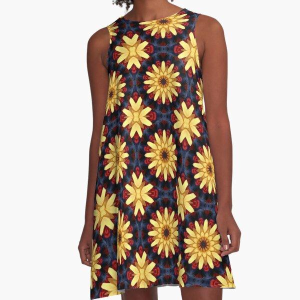 Sunflower Kaleidoscope A-Line Dress