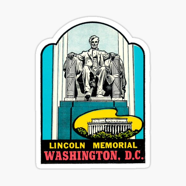 Lincoln Memorial Washington DC Vintage Travel Decal Sticker
