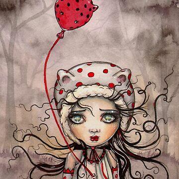 Big Eye Sweet Goth Red Balloon Fantasy Art by robmolily