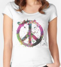 Peace Sign Splatter Women's Fitted Scoop T-Shirt