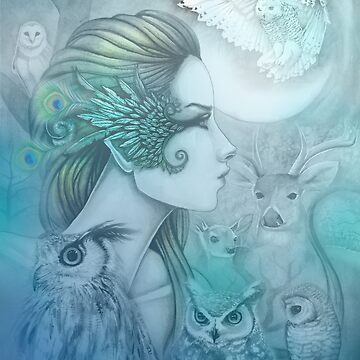 Spirit of Artemis (2) Goddess Fantasy Art Owls by robmolily