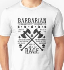 BARBARIAN, THE BLOODTHIRSTY AND RECKLESS - Dungeons & Dragons (Black) Unisex T-Shirt