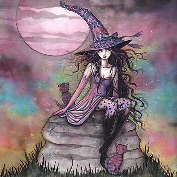 Enchanted Twilight Witch Cat Fantasy Art by Molly Harrison by robmolily