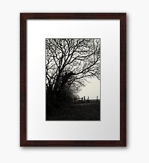 trees, fence and countryside Framed Print