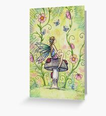 A Happy Place Flower Fairy and Ladybugs Greeting Card