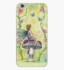 A Happy Place Flower Fairy and Ladybugs iPhone Case