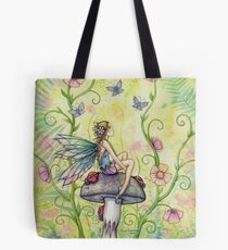 A Happy Place Flower Fairy and Ladybugs Tote Bag