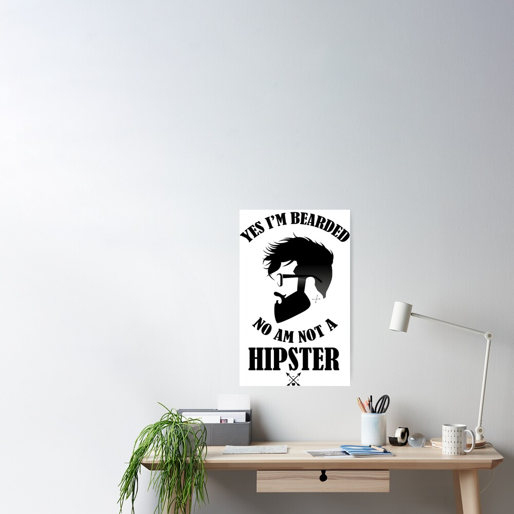 I/'m Not a Hipster Mustache Picture CANVAS WALL ART Square Print
