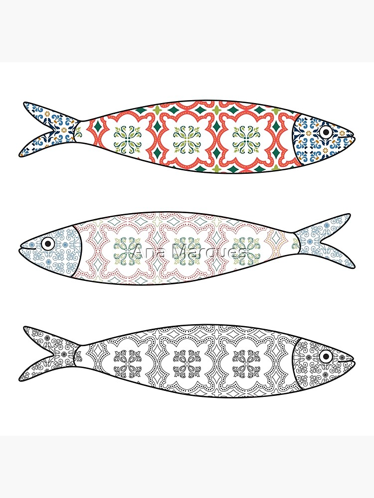 Traditional Portuguese icon. Colored sardines with typical Portuguese tiles patterns. Vector illustration by AnaMOMarques