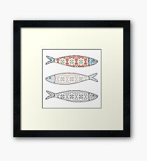 Traditional Portuguese icon. Colored sardines with typical Portuguese tiles patterns. Vector illustration Framed Print