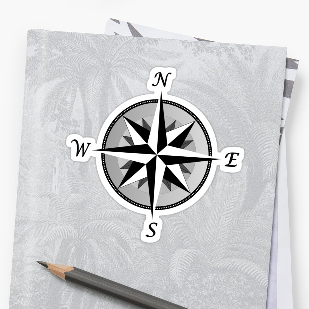 compass rose fancy stickers by rewstudio redbubble